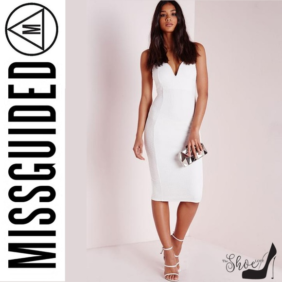 1072427364 Missguided Croc Textured Plunge Midi Dress White